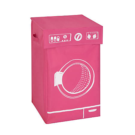 """Honey-Can-Do Square Hamper With Lid, 23 1/2"""" x 14"""" x 14"""", Pink"""