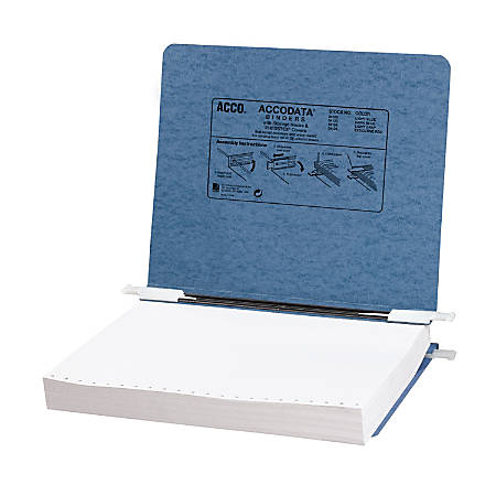 "Wilson Jones® Presstex® Data Binder With Retractable Hooks, 11"" x 8 1/2"", 60% Recycled, Light Blue"
