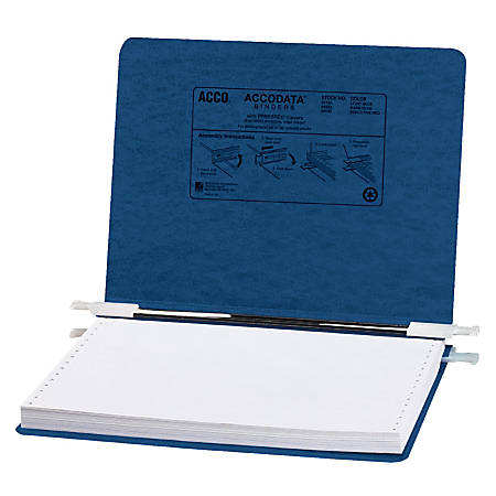 "Wilson Jones® Presstex® Data Binder With Retractable Hooks, 8 1/2"" x 12"", 60% Recycled, Dark Blue"