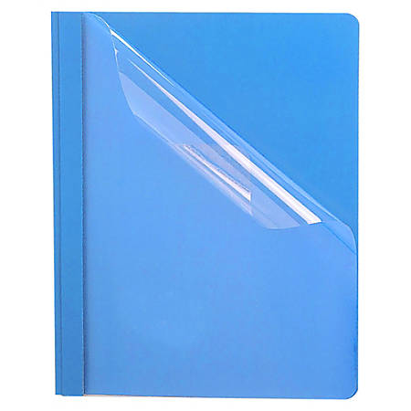"""Oxford™ Premium Clear Front Report Covers, 8 1/2"""" x 11"""", Light Blue, Box Of 25"""