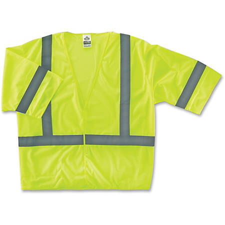 GloWear Class 3 Lime Economy Vest - Reflective, Machine Washable, Lightweight, Pocket, Hook & Loop Closure - Small/Medium Size - Polyester Mesh - Lime - 1 / Each