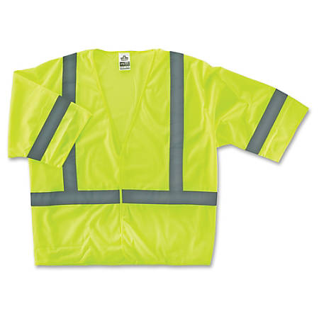 GloWear Class 3 Lime Economy Vest - Reflective, Machine Washable, Lightweight, Pocket, Hook & Loop Closure - Large/Extra Large Size - Polyester Mesh - Lime - 1 / Each