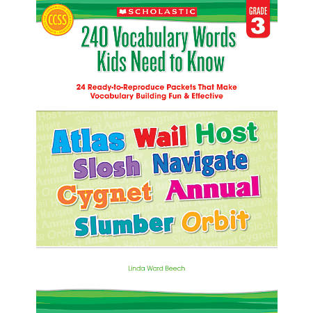 Scholastic 240 Vocabulary Words Kids Need To Know, Grade 3