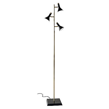 "Bennett LED Tree Lamp, 62""H, Black Shade/Black Marble Base"