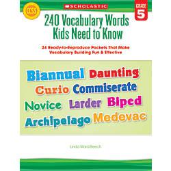 Scholastic 240 Vocabulary Words Kids Need