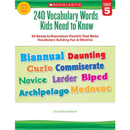 Scholastic 240 Vocabulary Words Kids Need To Know, Grade 5