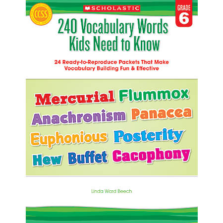 Scholastic 240 Vocabulary Words Kids Need To Know, Grade 6