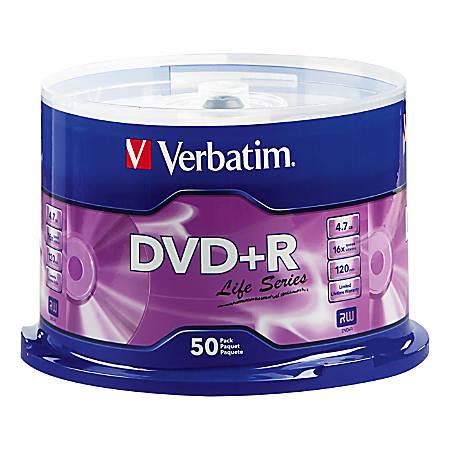 Verbatim® Life Series DVD+R Spindle, Pack Of 50