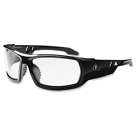 Ergodyne Skullerz Odin Clear Lens Safety Glasses - Durable, Flexible, Non-slip, Scratch Resistant, Anti-fog - Ultraviolet Protection - Nylon Frame, Polycarbonate Temple - Black - 1 Each