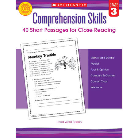 Scholastic Comprehension Skills: 40 Short Passages For Close Reading, Grade 3