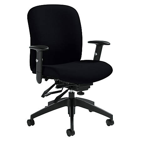 "Global® Truform Medium-Back Multi-Tilter Adjustable Chair, 38 1/2""H x 26""W x 25""D, Black"