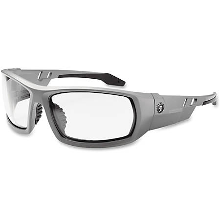 Ergodyne Fog-Off Clear Lens/Gray Frm Safety Glasses - Durable, Flexible, Non-slip, Scratch Resistant, Anti-fog, Perspiration Resistant - Ultraviolet Protection - Polycarbonate Lens, Nylon Frame, Polycarbonate Temple - Gray - 1 Each
