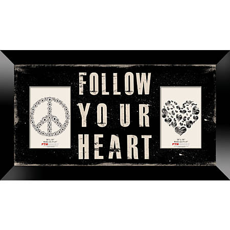 "PTM Images Photo Frame, Follow Your Heart, 22""H x 1 1/4""W x 12""D, Black"