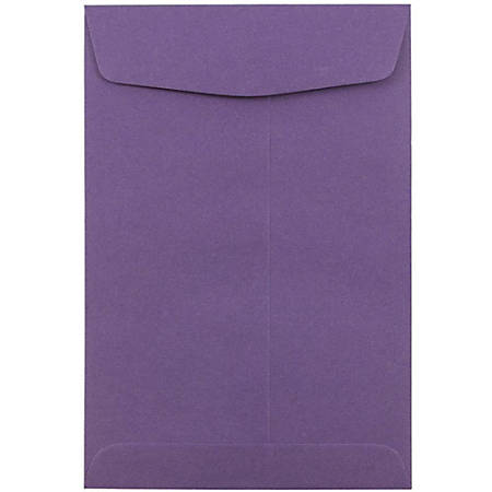 "JAM Paper® Open-End Catalog Envelopes With Gummed Closure, 6"" x 9"", Dark Purple, Pack Of 100"