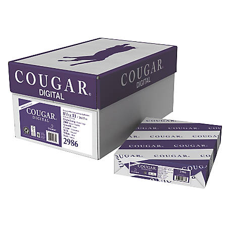 "Cougar® Digital Printing Paper, Letter Size (8 1/2"" x 11""), 98 (U.S.) Brightness, 80 Lb Cover (216 gsm), FSC® Certified, 250 Sheets Per Ream, Case Of 8 Reams"