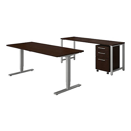 """Bush Business Furniture 400 Series 72""""W x 30""""D Height Adjustable Standing Desk With Credenza And Storage, Mocha Cherry, Standard Delivery"""