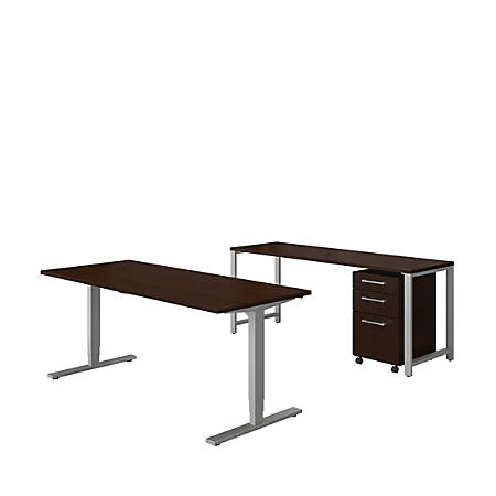 "Bush Business Furniture 400 Series 72""W x 30""D Height Adjustable Standing Desk With Credenza And Storage, Mocha Cherry, Standard Delivery"