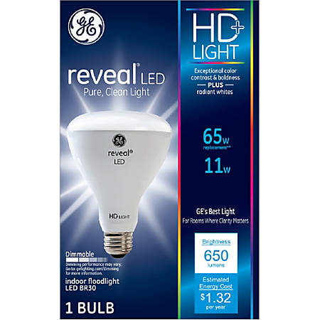 GE Lighting Reveal HD+ BR30 Dimmable LED Bulb, 65 Watts