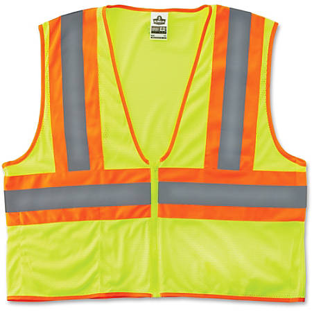 GloWear Class 2 Two-tone Lime Vest - Reflective, Machine Washable, Lightweight, Pocket, Zipper Closure - Large/Extra Large Size - Polyester Mesh - Lime - 1 / Each