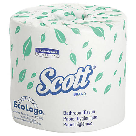 """Scott® 100% Recycled 2-Ply Bathroom Tissue, 4 1/10"""" x 4"""" Sheets, Case Of 20 Rolls"""
