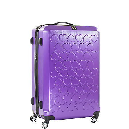 "ful Hearts Upright Rolling Suitcase, 25""H x 17 3/8""W x 11""D, Purple"