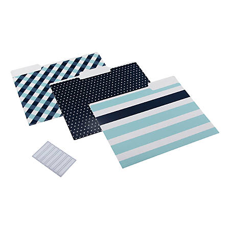 """See Jane Work® File Folders, 8-1/2"""" x 11"""", Letter Size, Assorted Blue Colors, Pack Of 6 Folders"""