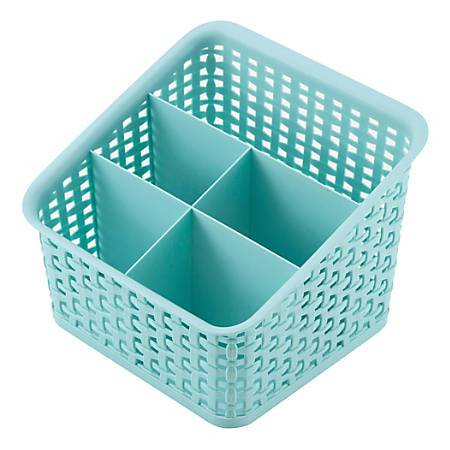 "See Jane Work® Plastic Weave 5 Compartment Bin, 8-3/16"" x 8-3/16"" x 6-1/4"", Blue"