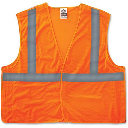 GloWear Orange Econo Breakaway Vest - Reflective, Machine Washable, Lightweight, Hook & Loop Closure, Pocket - Large/Extra Large Size - Polyester Mesh - Orange - 1 / Each