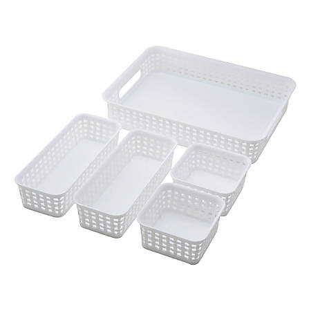 See Jane Work® Plastic 5-Pack Weave Bins, White