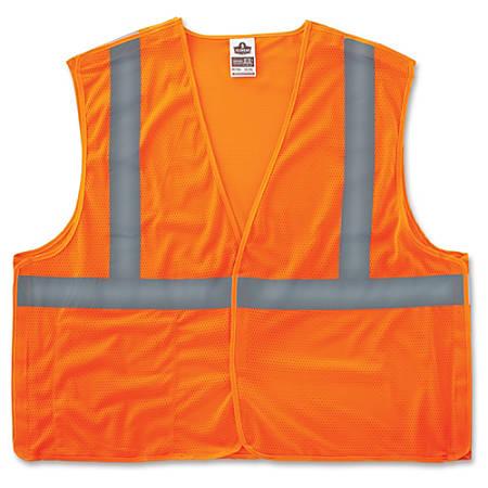 GloWear Orange Econo Breakaway Vest - Reflective, Machine Washable, Lightweight, Hook & Loop Closure, Pocket - 2-Xtra Large/3-Xtra Large Size - Polyester Mesh - Orange - 1 / Each