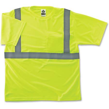 Ergodyne GloWear® 8289 Type R Class 2 T-Shirt, Large, Reflective Lime