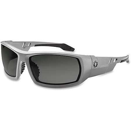 Ergodyne Fog-Off Smoke Lens/Gray Frame Safety Glasses - Durable, Flexible, Non-slip, Scratch Resistant, Anti-fog, Perspiration Resistant - Ultraviolet Protection - Polycarbonate Lens, Nylon Frame, Polycarbonate Temple - Gray - 1 Each