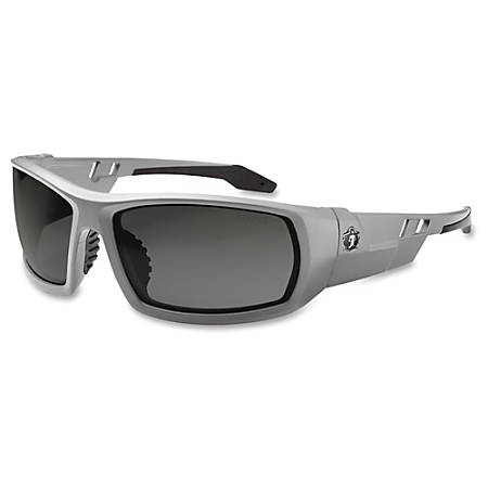 Ergodyne Fog-Off Smk Lens/Gray Frm Safety Glasses - Durable, Flexible, Non-slip, Scratch Resistant, Anti-fog, Perspiration Resistant - Ultraviolet Protection - Polycarbonate Lens, Nylon Frame, Polycarbonate Temple - Gray - 1 Each