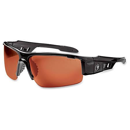 Ergodyne Dagr Copper Lens Half Frame Safety Glasses - Durable, Flexible, Non-slip, Scratch Resistant, Perspiration Resistant, Comfortable - Ultraviolet Protection - Polycarbonate Lens, Nylon Frame, Polycarbonate Temple - Black - 1 Each