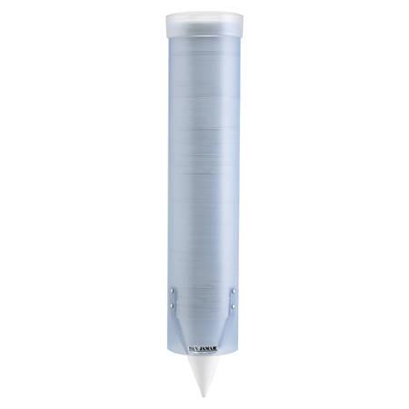 "San Jamar Adjustable Frosted Water Cup Dispenser, 16"" x 3 1/4"", Blue"