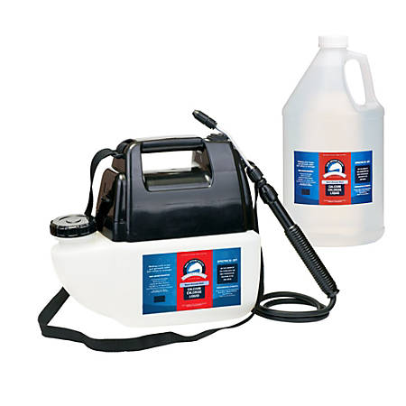 Bare Ground Liquid De-Icer, Calcium Chloride With Battery-Operated Spray, 1 Gallon