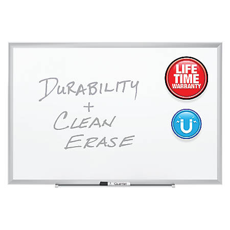 """Quartet® Magnetic Porcelain Dry-Erase Board With Aluminum Frame, 48"""" x 96"""""""