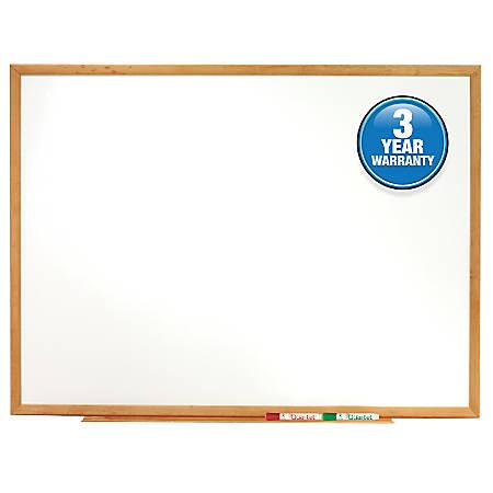 """Quartet® Classic Total Erase® Dry-Erase Board, 48"""" x 72"""", Oak Finish Frame"""