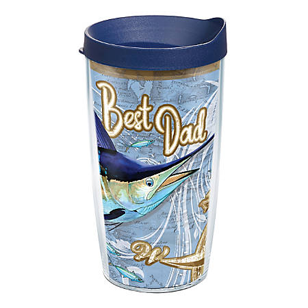 Tervis Guy Harvey Best Dad Nautical Tumbler With Lid, 16 Oz, Clear