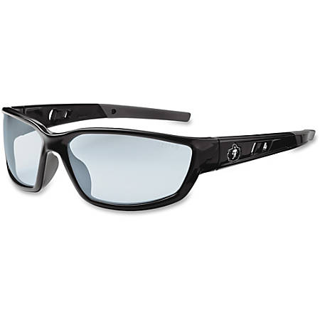 Ergodyne Kvasir Silver Mirror Lens Safety Glasses, Black/Silver