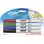 EXPO® Low-Odor Dry-Erase Markers, Ultra-Fine Point, Assorted Colors, Pack Of 4