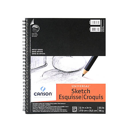 """Canson Universal Heavyweight Sketch Pads, 11"""" x 14"""", 100% Recycled, 100 Sheets Per Pad, Pack Of 2 Pads"""