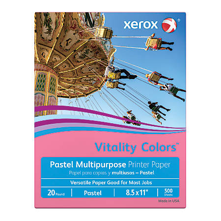 """Xerox® Vitality Colors™ Multi-Use Printer Paper, Letter Size (8 1/2"""" x 11""""), 20 Lb, 30% Recycled, Cherry, Ream Of 500 Sheets"""