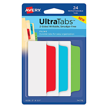 """Avery® UltraTabs 2-Sided Writable Tabs, 1-1/2"""" x 3"""", Assorted Colors, Pack Of 24 Tabs"""