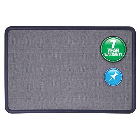 "Quartet® Contour® Fabric Bulletin Board, 48"" x 36"", Light Blue/Navy"