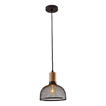 "Adesso® Dale Small Pendant Lamp, 10""H, Matte Black Shade/Natural Rubberwood Base"