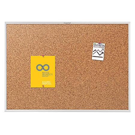 """Quartet® Classic Cork Bulletin Board, 36"""" x 60"""", Silver Aluminum Frame"""