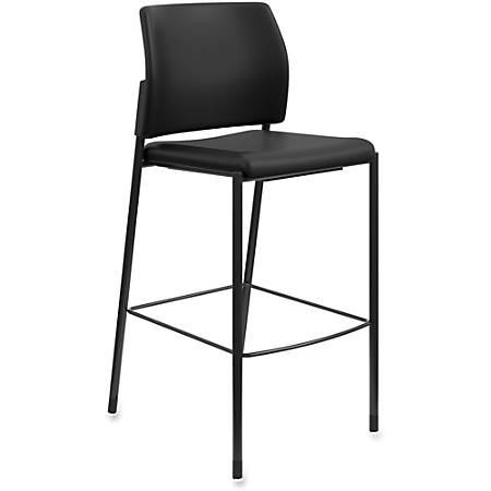 HON® Accommodate Cafe Stool, Armless, Faux Leather, Black