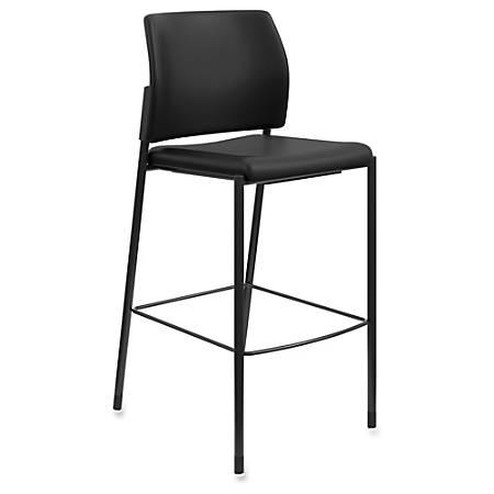 "HON Accommodate Cafe Stool, Armless - Vinyl Black Seat - Vinyl Black Back - Steel Textured Black Frame - Four-legged Base - 23.3"" Width x 21.3"" Depth x 31.4"" Height"