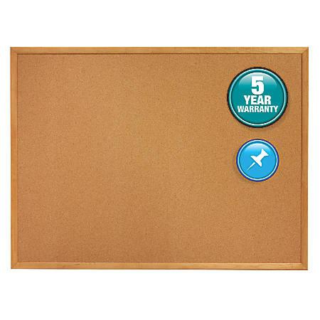 "Quartet® Natural Cork Bulletin Board With Oak Frame, 18"" x 24"""